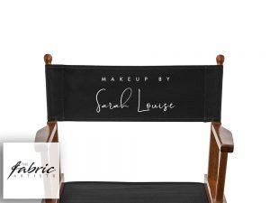 Personalised Black Canvas For Makeup Artist and Directors Chair.