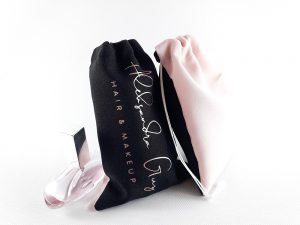 Rose Gold Personalised Drawstring Makeup Promo Bags ( 6″ x 4″ )