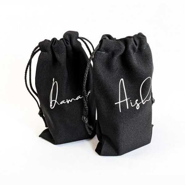 black personalised named drawstring bags