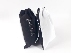 Black & White Personalised Drawstring Makeup Promo Bags ( 6″ x 4″ )