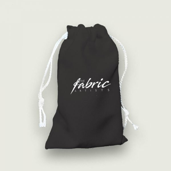 black personalised named drawstring bags