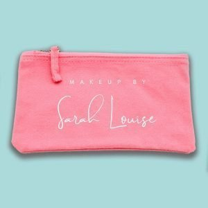 Small Pink Personalised Accessories, Makeup Wash Bags. ( 20 x 11.5 cm )