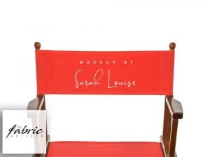 RED Personalised Chair Covers For Makeup Artist and Directors Chairs.